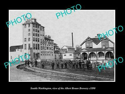 OLD LARGE HISTORIC PHOTO OF SEATTLE WASHINGTON, THE ALBERT BRAUN BREWERY c1890