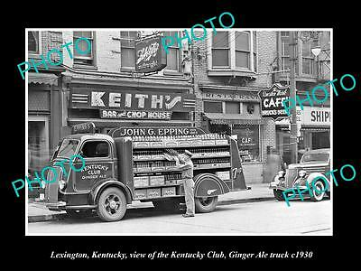 OLD LARGE HISTORIC PHOTO OF LEXINGTON, THE KENTUCKY CLUB GINGER ALE TRUCK c1930