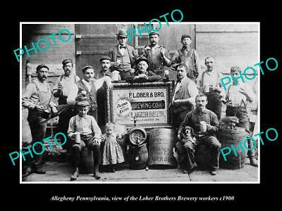 OLD LARGE HISTORIC PHOTO OF ALLEGHENY PENNSYLVANIA, LOBER BREWERY WORKERS c1900
