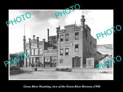 OLD LARGE HISTORIC PHOTO OF GREEN RIVER WYOMING, THE GREEN RIVER BREWERY c1900