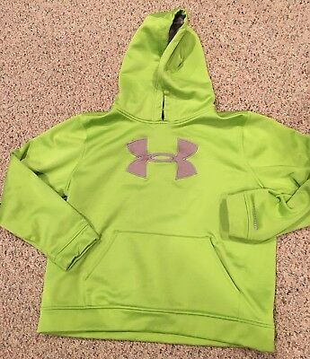 UNDER ARMOUR green gray hooded hoodie school sport sweatshirt unisex youth XL
