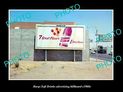 OLD LARGE HISTORIC PHOTO OF BARQS SOFT DRINK ADVERTISING BILLBOARD c1960s 5