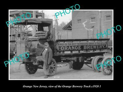 OLD LARGE HISTORIC PHOTO OF ORANGE NEW JERSEY, THE ORANGE BREWERY TRUCK c1920 2
