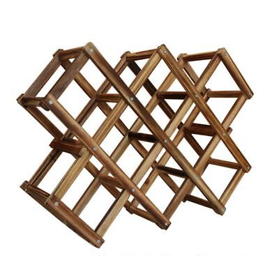 Wooden Red Wine Rack 10 Bottle Holder Mount Bar Display Shelf Folding Wood L0J6