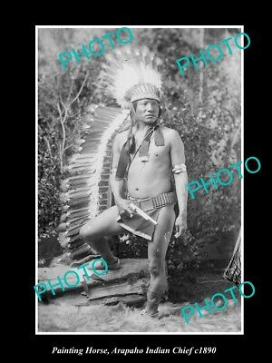 OLD LARGE HISTORIC PHOTO OF ARAPAHO INDIAN CHIEF, PAINTING HORSE c1890