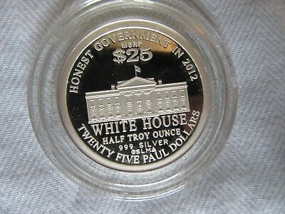 2010 Ron Paul For The White House, 1/2 Troy Oz .999 Silver,