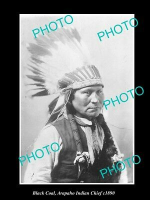 OLD LARGE HISTORIC PHOTO OF ARAPAHO INDIAN CHIEF, BLACK COAL c1890