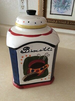 """NONNI'S BISCOTTI / COFFEE TEA  LARGE 11-1/2"""" COOKIE JAR Excellent Condition"""