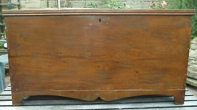 Antique 19th c Elm Chest Trunk Blanket Box Storage - Coffee Table