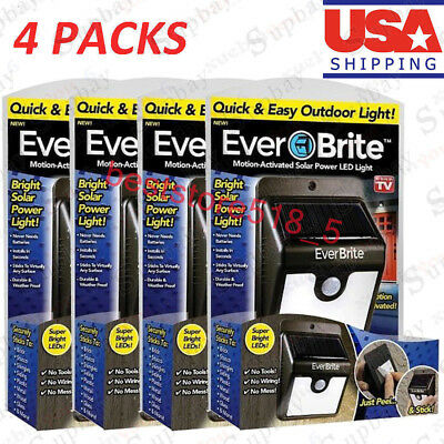 4 Packs Ever Brite Led Outdoor Light-AS ON TV Everbrite Solar Powered & Wireless