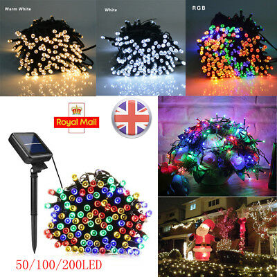 UK 50/100/200 LED Solar Fairy Lights String Garden Outdoor Party Wedding Xmas