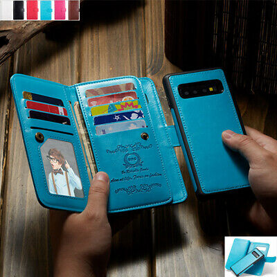 Removable Magnet Leather Wallet Flip Card Case Cover For Samsung Galaxy Phones