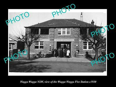 OLD LARGE HISTORIC PHOTO OF WAGGA WAGGA NSW, VIEW OF THE FIRE STATION c1930