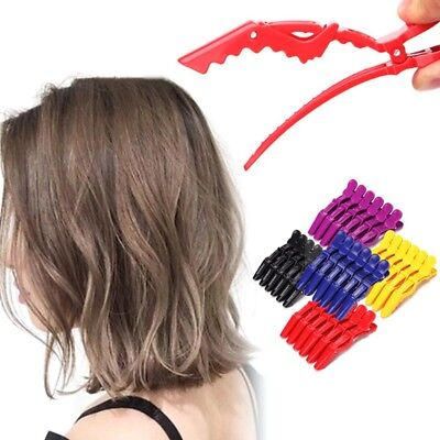 6Pcs Sectioning Clips Clamps Hairdressing Salon Hair Grips Crocodile 5 Colors