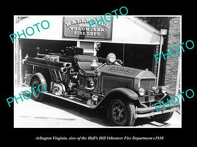 OLD LARGE HISTORIC PHOTO OF ARLINGTON VIRGINIA, HALLS HILL FIRE ENGINES c1930 2