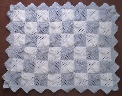 Beautiful hand knitted silver grey and white pram/cot blanket