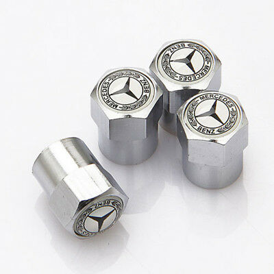 4x Car Tire Valve Dust Stems Air Caps Covers Accessories Logo For Mercedes-Benz