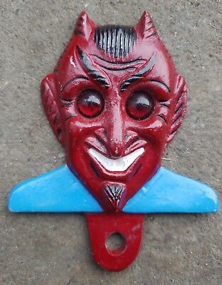 Tag Topper DEVIL with Red Jewel Reflector License Plate Fob Metal Car Tag Topper