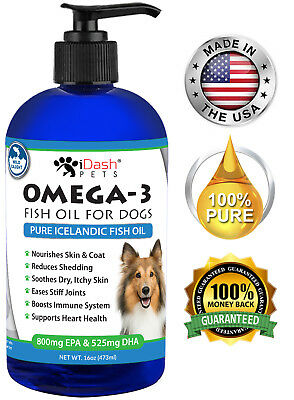 Omega 3 Fish Oil for Dogs Reduces Shedding Itchy Skin Stiff Joints EPA/DHA 16 oz