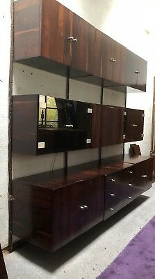 Fine Large 3 Bay Rosewood Danish Cado Style Floating Shelving/display Stand