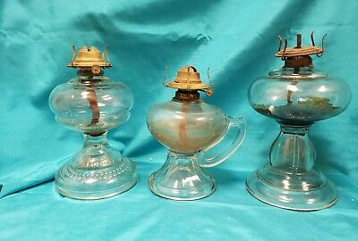 Vintage Antique Hurricane Oil Lamp Lot Clear Glass WITH HANDLE , Hobnail LOOK