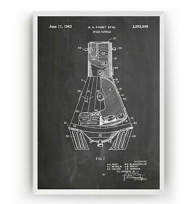 NASA Space Capsule Patent Print Vintage Poster Wall Art Decor Gift - Unframed