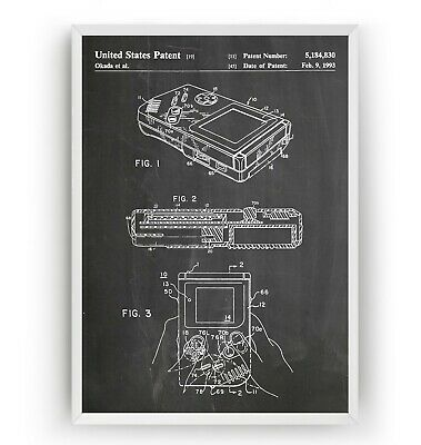 Game Boy Patent Print - Games Room Retro Poster Wall Art Decor Gift - Unframed