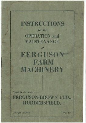 Ferguson Brown Tractor Operators Manual