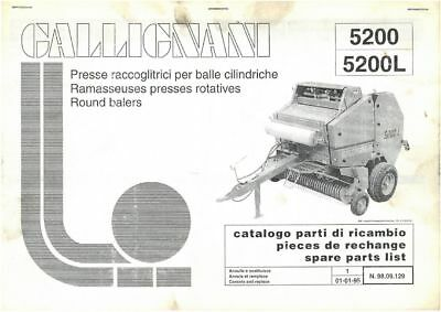 Gallignani Round Baler 5200 & 5200L Parts Manual