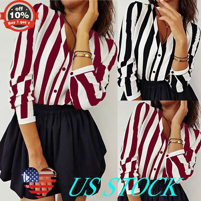 Women Vertical Stripe Button Down T Shirt Loose Long Sleeve Tops Sexy V Neck Tee