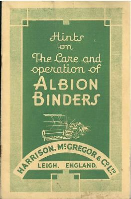 Harrison, McGregor & Co Ltd - Hints on The Care and Operation of Albion Binders