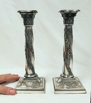 Early Sheffield Silver on Copper Candlesticks Rare Corinthian Form 1780-1810