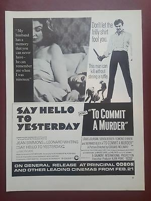 Say Hello To Yesterday / To Commit A Murder - 1970's Magazine Advert #B2401