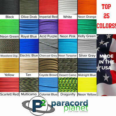550 Paracord Rope Mil Spec 550 Type III 7 Strand Parachute Cord - 100 Feet Cord