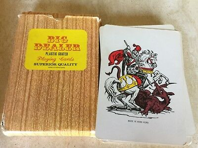 """Vintage Giant Jumbo playing cards for big dealers plastic coated 7""""x 5"""""""