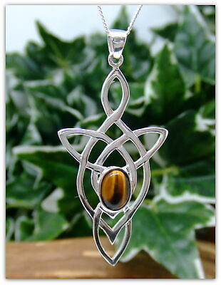 "Celtic Arrow Tigers Eye Sterling Silver Necklace Gemstone Pendant 18"" chain"