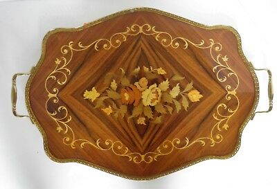 Vtg Italian Sorrento Inlaid Wood Marquetry Fluted Scalloped Lg Serving Tray