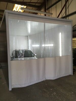 White & Clear Heavy Duty Workshop Sand Blasting Curtains Dividers 20 Ft X 9 Ft
