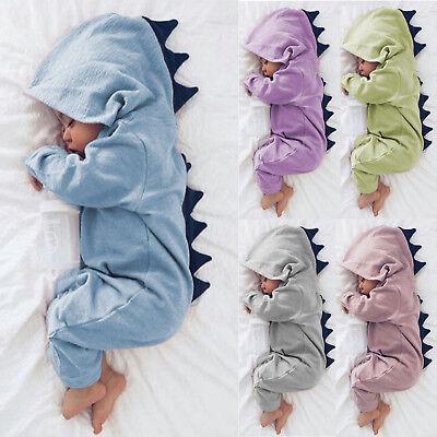 Newborn Infant Baby Grow Boys Girls Animal Dinosaur Hoody Long Sleeve Bodysuit