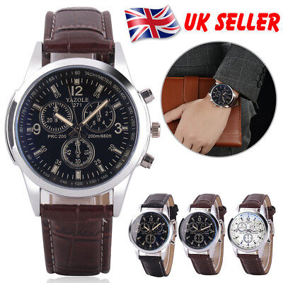 UK Classic Mens Gents Stainless Steel Case Brown Leather Strap Sport Wrist Watch