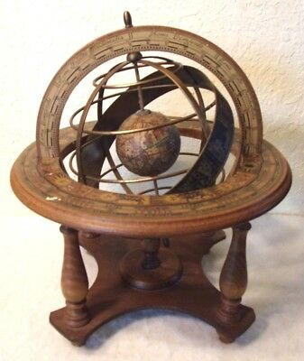 Vintage Olde World Globe Desk Top Astrology Zodiac Marked Made In Italy