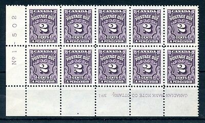 Weeda Canada J16 VF MNH LL pl. 1 block of 10, 2c 1935 Postage Due CV $13