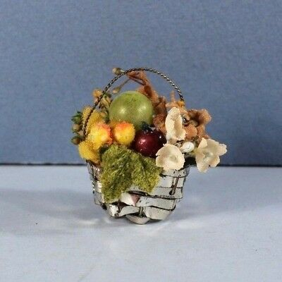 TINY Antique Germany Candy Basket CHRISTMAS Ornament Putz Feather Tree #1