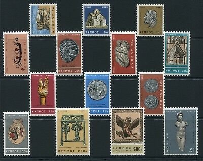 Weeda Cyprus #278-291 VF Mint H 1966 issue set of 14 stamps CV $16.50