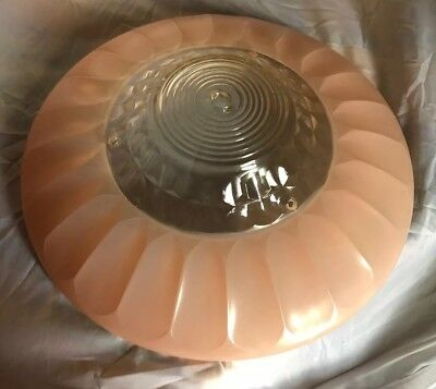 Antique Vtg Pink/Clear 3 Hole Art Deco Glass Ceiling Light Lamp Shade Chandelier