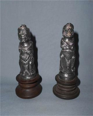 Antique Indonesia Bali Java TOP TWO HIGH AGED USED SILVER DEMON FIGURES