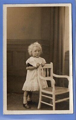 1907c PRETTY LITTLE GIRL IN HER BEST DRESS CARDIFF RP PHOTO VINTAGE POSTCARD