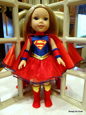 "4pc SUPER GIRL Costume SET fits American Girl 14.5"" WELLIE WISHERS DOLL CLOTHES"