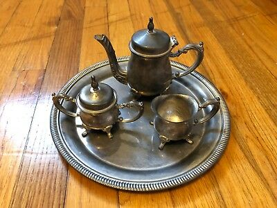Silver-plated tea set with tray