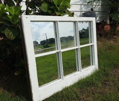 Salvaged Antique Window Sash - 6 PANE SMALL 28X20 WITH MIRROR PANES RUSTIC